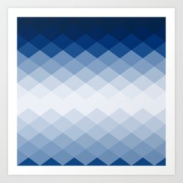 Navy rhombs Art Print