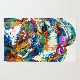 Colorful Shih Tzu Dog Art By Sharon Cummings Rug
