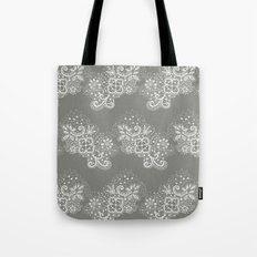 White on Grey Lace Tote Bag