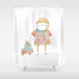 Bird Elf with a Gift Shower Curtain