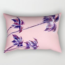 Maroon Leaves_Pastel and watercolor painting on colored paper Rectangular Pillow
