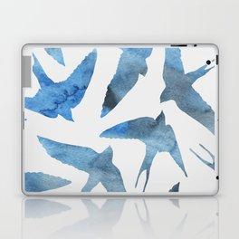 Watercolor birds - sapphire ink Laptop & iPad Skin