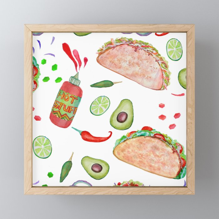 """Tacos are """"Hot Stuff"""" and we love them! Framed Mini Art Print"""