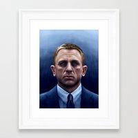 james bond Framed Art Prints featuring James Bond by Vincent Leung