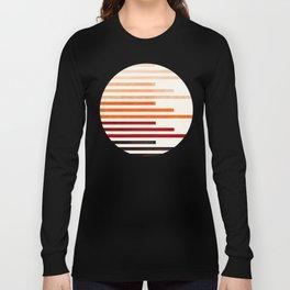 Mid Century Modern Minimalist Circle Round Photo Burnt Sienna Staggered Stripe Pattern Long Sleeve T-shirt
