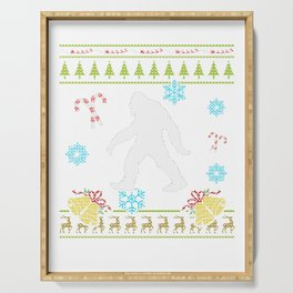 Big Foot Christmas Sweater Shirt Sasquatch Christmas Sweater Serving Tray