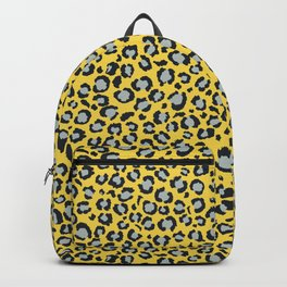Yellow Black and Grey Leopard Print Animal Print Backpack