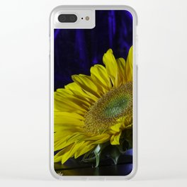 Sunflower and blue Clear iPhone Case