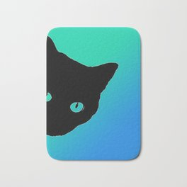 Black Cat Blue Green Tshirt Bath Mat