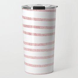 Simply Drawn Stripes in Rose Gold Sunset Travel Mug