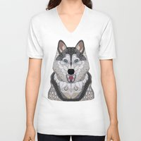 husky V-neck T-shirts featuring Happy Husky by ArtLovePassion