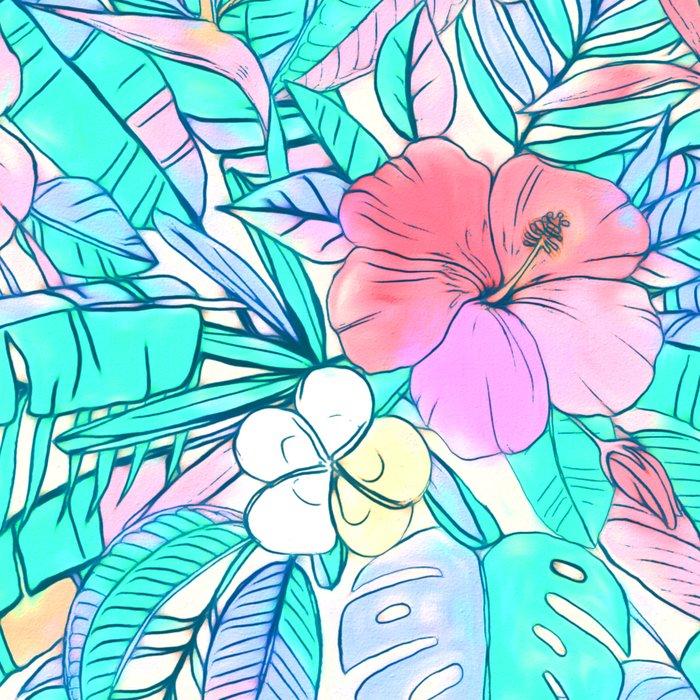 Pretty Pastel Hawaiian Hibiscus Print Leggings