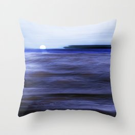 Distant Islands in the moonlight Seascape Throw Pillow