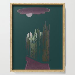 Pink Cloud over the April Super Moon in a City with Green Background Serving Tray