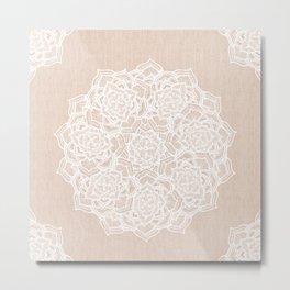 Modern boho Love Mandala pattern - Terracotta cream Metal Print