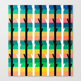 Colorful stripes and black and white tree trunks Canvas Print