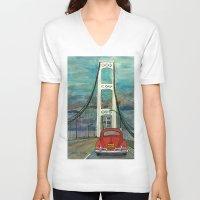 volkswagon V-neck T-shirts featuring VW Bug on Mackinac Bridge by Barb Laskey Studio