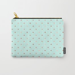 Mint & Rose Gold Polka Dot Pattern Carry-All Pouch