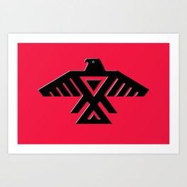 Animikii Thunderbird doodem on red Art Print