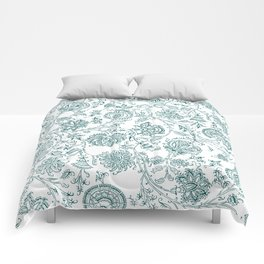 Teal and White Vintage Floral Pattern Comforters