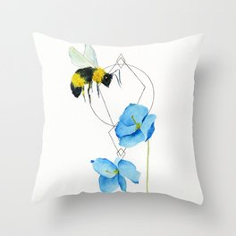 save the bees minimalist geometric watercolor Throw Pillow