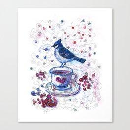 Winter Tea (Ble Jay) Canvas Print