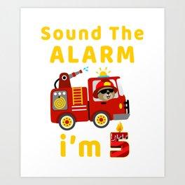 Fire Truck 5 Years Old Birthday T Shirt Kids Gift T-Shirt Art Print