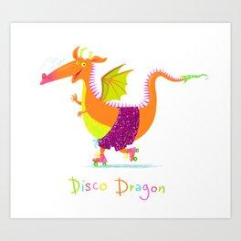 Disco Dragon Art Print