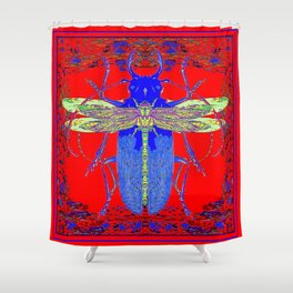 Lemon Dragonfly  Hitch Hiker on  Blue Beetle Red Abstract Art Shower Curtain