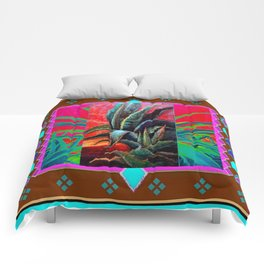 COLORFUL DESERT AGAVE CACTUS PAINTING Comforters