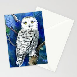Snowy Owl, Northern Owl, White Owl, Owl art Winter woodland Stationery Cards