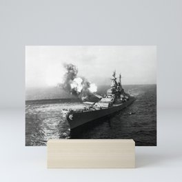 USS Missouri Firing Salvo - Korean War - 1950 Mini Art Print