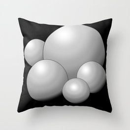 Silver 3D Balls with Black Background  Throw Pillow