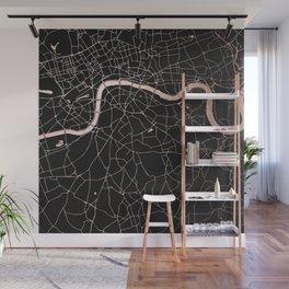 London Black on Rosegold Street Map Wall Mural