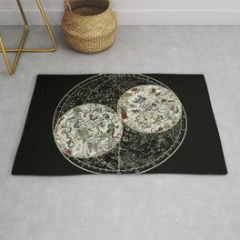 Astronomy constellations vintage art map, cosmos, galaxy universe astrology Rug