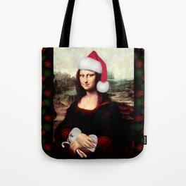 Mona Lisa Wearing a Santa Hat Tote Bag