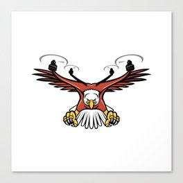 Half Eagle Half Drone Swooping Mascot Canvas Print