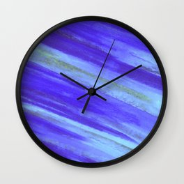 WASHED UP - Bold Blue Stripes Abstract Watercolor Painting Colorful Fun Surfer Ocean Waves Wall Clock