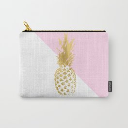 Pink white colorblock gold geometrical pineapple Carry-All Pouch