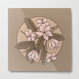 Sakura Branch Pattern - Pale Dogwood + Hazelnut Metal Print