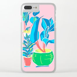 Perky Plants - Pink Blue Multi Clear iPhone Case