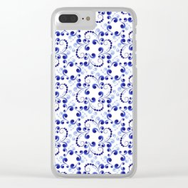 Floral pattern in blue Clear iPhone Case