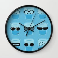 glasses Wall Clocks featuring Glasses by Zach Terrell