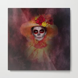 Summer Girl Sugar Skull Metal Print