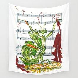 Making Wishes  (praying mantis and dandelion on sheet music) Wall Tapestry