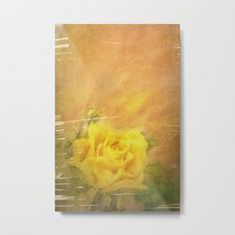 Vintage painting yellow rose Metal Print