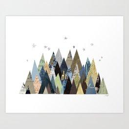 Mountain Collage Art Print