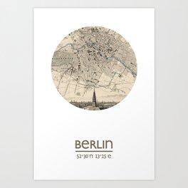 BERLIN GERMANY - city poster - city map poster print Art Print