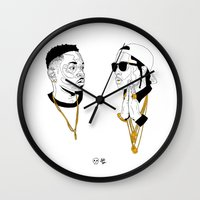 kendrick lamar Wall Clocks featuring Kendrick Lamar by Timothy McAuliffe
