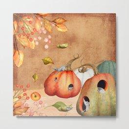 Autumnal Mice fun with pumpkin Metal Print